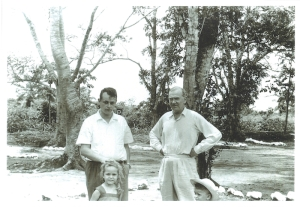 In Congo: Graham Greene (right) and dr. Lechat (left) and his two firstborn children